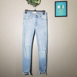 Madewell High Rise Skinny Distressed Step Hem Jean